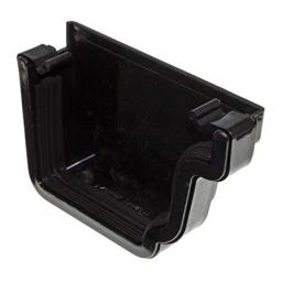 Black Ogee Gutter Right Hand External Stop End