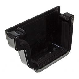 Black Ogee Gutter Left Hand External Stop End