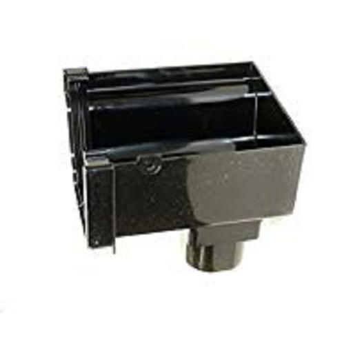 Black Ogee Gutter Left Hand Stop End Outlet