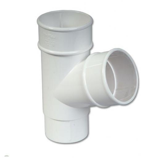 White Round Down Pipe 112 Degree Branch