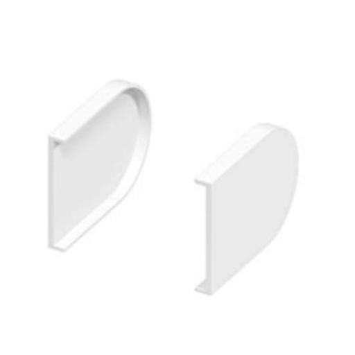 Pair 50mm Bullnose White Window Sill End Caps