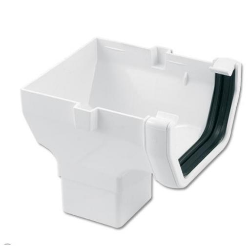 White Square Gutter Stop End Outlet