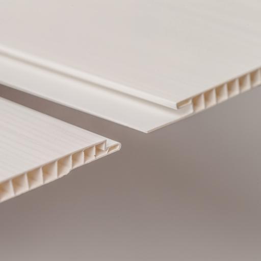 Aqua 250 White Wood Gloss PVC Bathroom Wall Cladding 2700mm x 250mm x 5mm (Pack of 4)