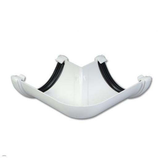 White Round Gutter 90 Degree Angle