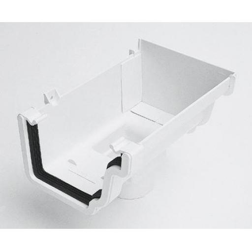 White Ogee Gutter Right Hand Stop End Outlet