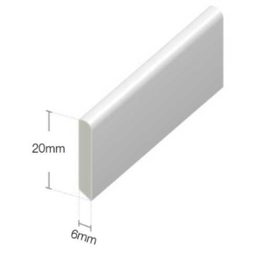 White PVC 20mm Finishing Trim