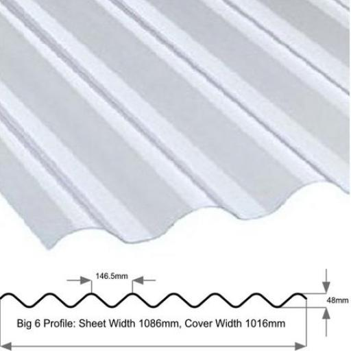 "Big 6 Corrugated Roof Sheet Clear PVC 6"" Profile"