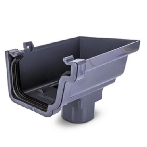 Anthracite Ogee Gutter Right Hand Stop End Outlet