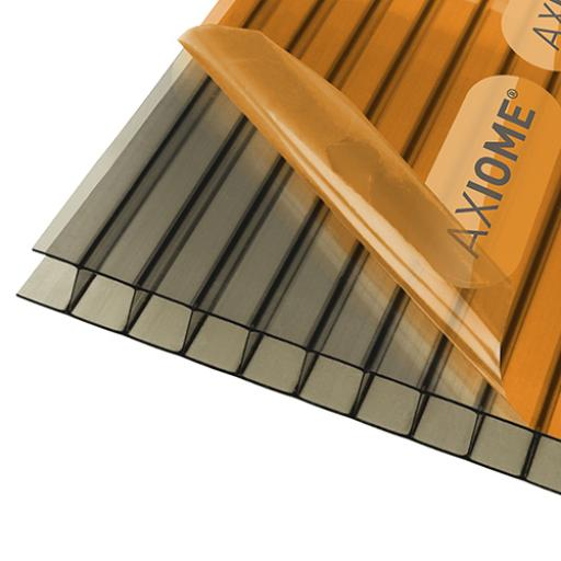 10mm Bronze Axiome Twinwall Polycarbonate - Cut to Size - Sqm. Rate