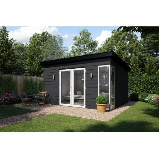3.6m x 3.75m Garden Summer House - French Doors