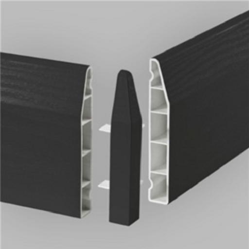100mm Anthracite UPVC Skirting External Corner - Chamfered (2 Pack)