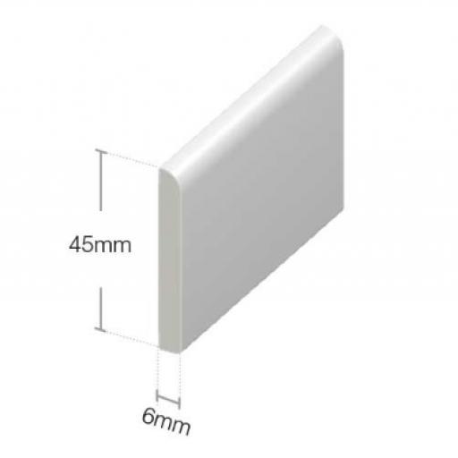 White PVC Flat Back Architrave 45mm